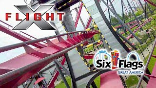 2019 X Flight Roller Coaster On Ride Front Seat HD POV Six Flags Great America