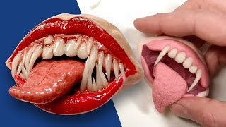 How to Make a Creepy Monster Mouth Pin or Magnet - Polymer Clay Tutorial
