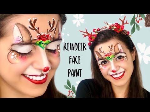 FAST ONE STROKE REINDEER face paint tutorial