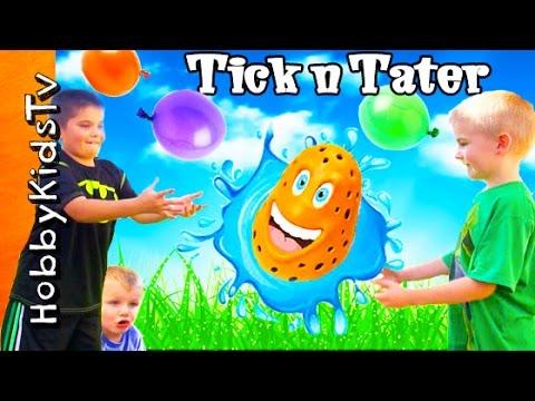 Water BALLOON Fight! TICK n' TATER  Splash GAME Don't Get Wet HobbyKidsTV