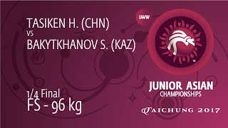 1/4 FS - 96 Kg: S. BAKYTKHANOV (KAZ) Df. H. TASIKEN (CHN) By TF, 12-0