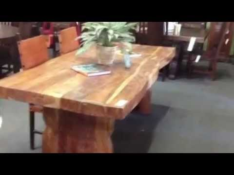 Dt50 solid wood dining table four inch thick top youtube Best wood for dining table