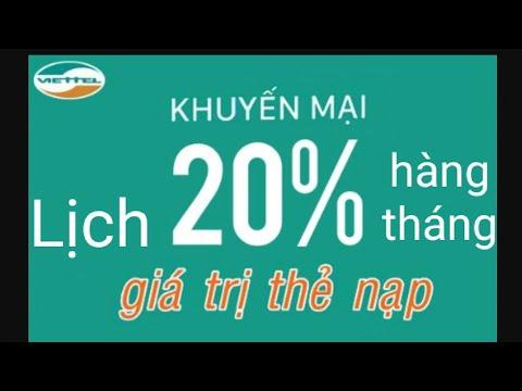 Lịch Khuyến Mãi 20% Giá Trị Thẻ Nạp Hàng Tháng Của Nhà Mạng Viettel