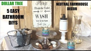 🧺😱 DOLLAR TREE 5 EASY DIYS ONLY $12 • FARMHOUSE BATHROOM DECOR