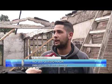 Un feroz incendio afectó este lunes al mediodía a una vivienda del barrio El Progreso, que quedó destruida a raíz de las llamas. Martín y su familia necesitan materiales para reconstruir su casa.