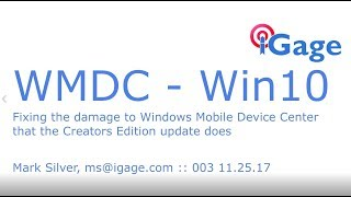 Windows Mobile Device Center no longer works after Creator's Edition in Win10