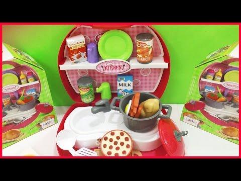 Đồ chơi nấu ăn, nhà bếp mini trong vali hồng xinh, shopkins 24 món (Chim Xinh)