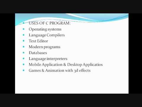 Uses and Applications of C programming language