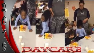 Daycare Worker Caught on Video Pulling Lil Girls Hair Forcing Her to Eat