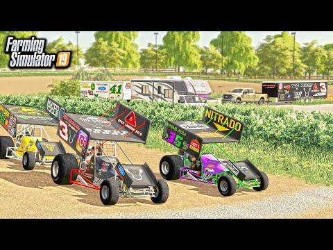 FARMER'S SPRINT CAR RACE! (COMPLETE TRACK & CUSTOM CARS) | FARMING SIMULATOR 2019