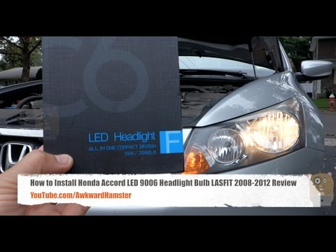 How To Install Honda Accord LED 9006 Headlight Bulb LASFIT 2008 2012 Review
