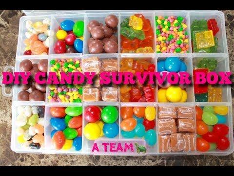 DIY CANDY SURVIVOR BOX KIT MAKING!Whoopers RainbowNerds GummyBears GummyBlocks A TEAM