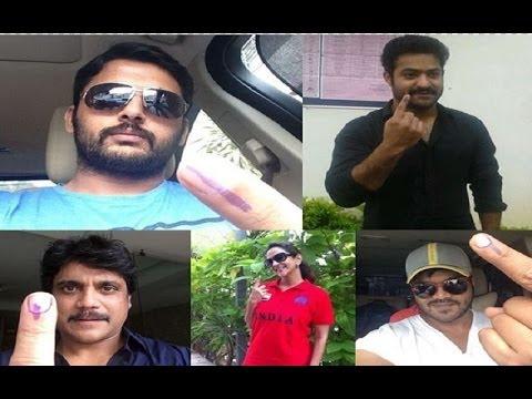 Telugu Film Celebrities cast their VOTES - Part 1 Mp3