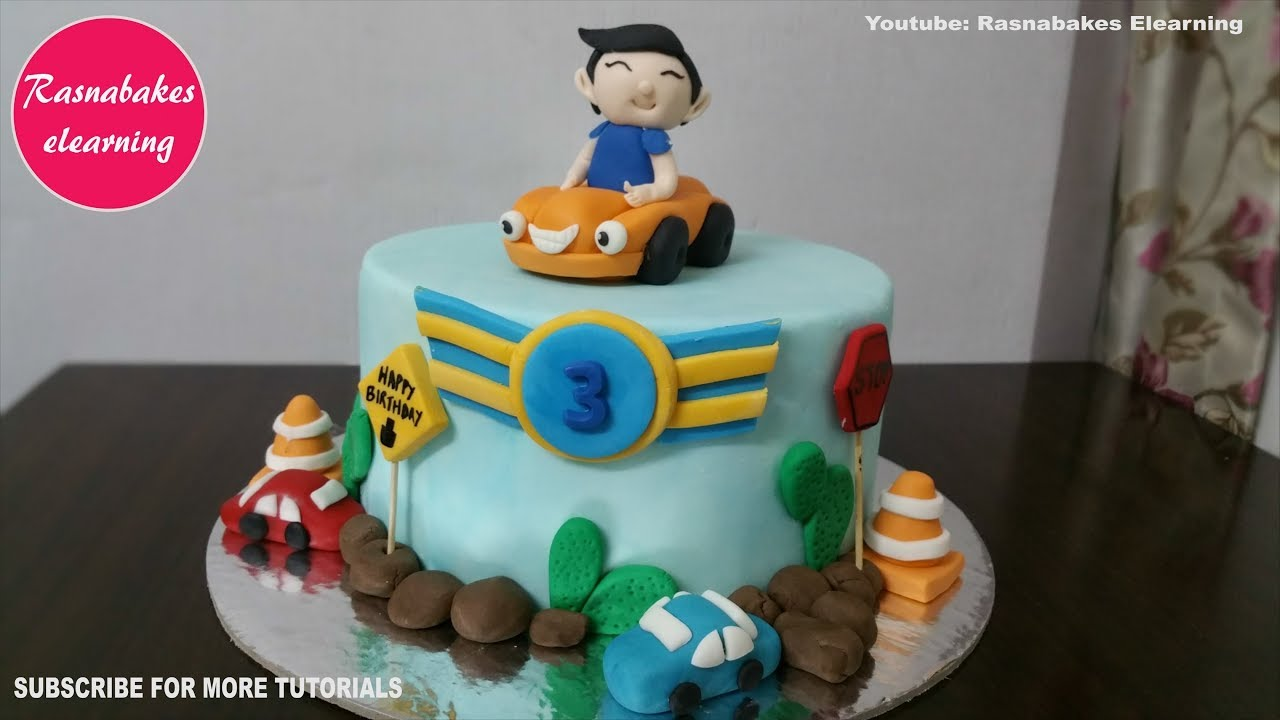 Car Theme 3 Year Old Or 3rd Birthday Cake Design Ideas Decorating Tutorial For Boy Girl Kids Youtube