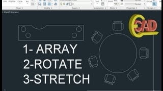 Learning AutoCAD 2013 Tutorial 8: Array, Rotate, Stretch.