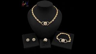 Yulaili последняя мода 18 позолоченных сердечек ожерелье серьги гвоздики браслет кольцо
