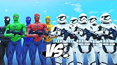 STORMTROOPERS ARMY VS SPIDER-MAN, BLUE SPIDERMAN, GREEN SPIDERMAN, YELLOW SPIDERMAN, BLACK SPIDERMAN