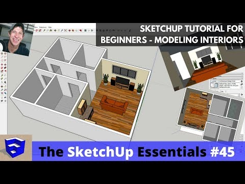 SketchUp Tutorial for Beginners - Part 3 - Modeling Interiors from Floor Plan to 3D!