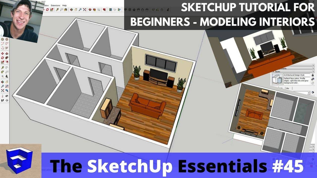 Sketchup Tutorial For Beginners Part 3 Modeling Interiors From Floor Plan To 3d Youtube
