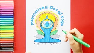 How to draw and color International Yoga Day Logo