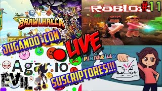 Roblox Agar.io Pinturillo Brawlhalla Gameplay Español ? To All!!! | Playing C/Subscribers xD-11