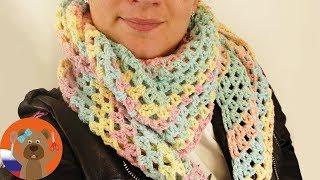 Ажурный бактус крючком   Весенний шарф в пастельных тонах   Вязание с градиентом