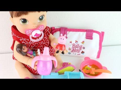 BABY Alive Hora de Comer Rotina da Manhã Amandinha brincando com a Dora e a Peppa
