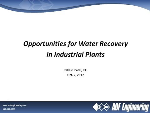Opportunities for Water Recovery in Industrial Plants