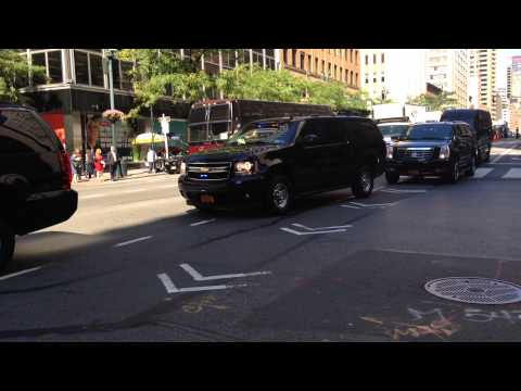NYPD & UNITED STATES SECRET SERVICE ESCORTING MOTORCADE DURING U.N. GENERAL ASSEMBLY MEETINGS, NYC.