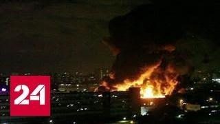 Море огня потушили с вертолетов  в Медведкове сгорел огромный склад