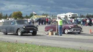 55 Chevy Sedan delivery and old Buick drag  25 sept Armdro[