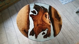 Solid wood dining tables with glass and epoxy resin