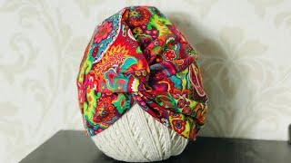 Touca turbante em tecido – Nova versão por Arte de Paninho
