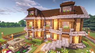 Minecraft: How to Build a Large Wooden Oak House (Tutorial)