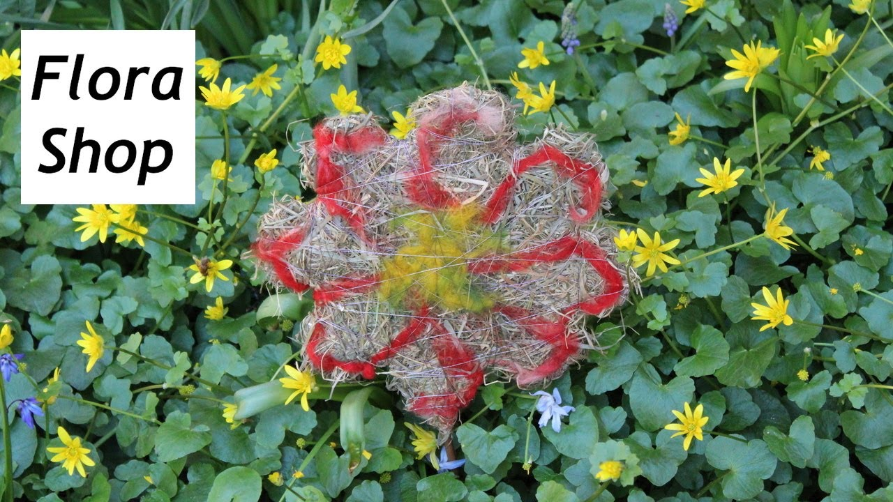 Gartendeko basteln mit kindern  Lustige Blumenstecker aus Heu für Gartendeko basteln - YouTube