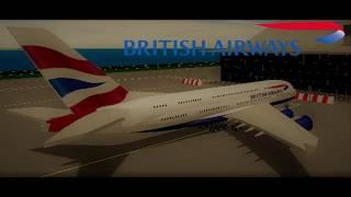 Simulateur de vol Roblox SFS (fr) Timelapse de british Airways Airbus A380.