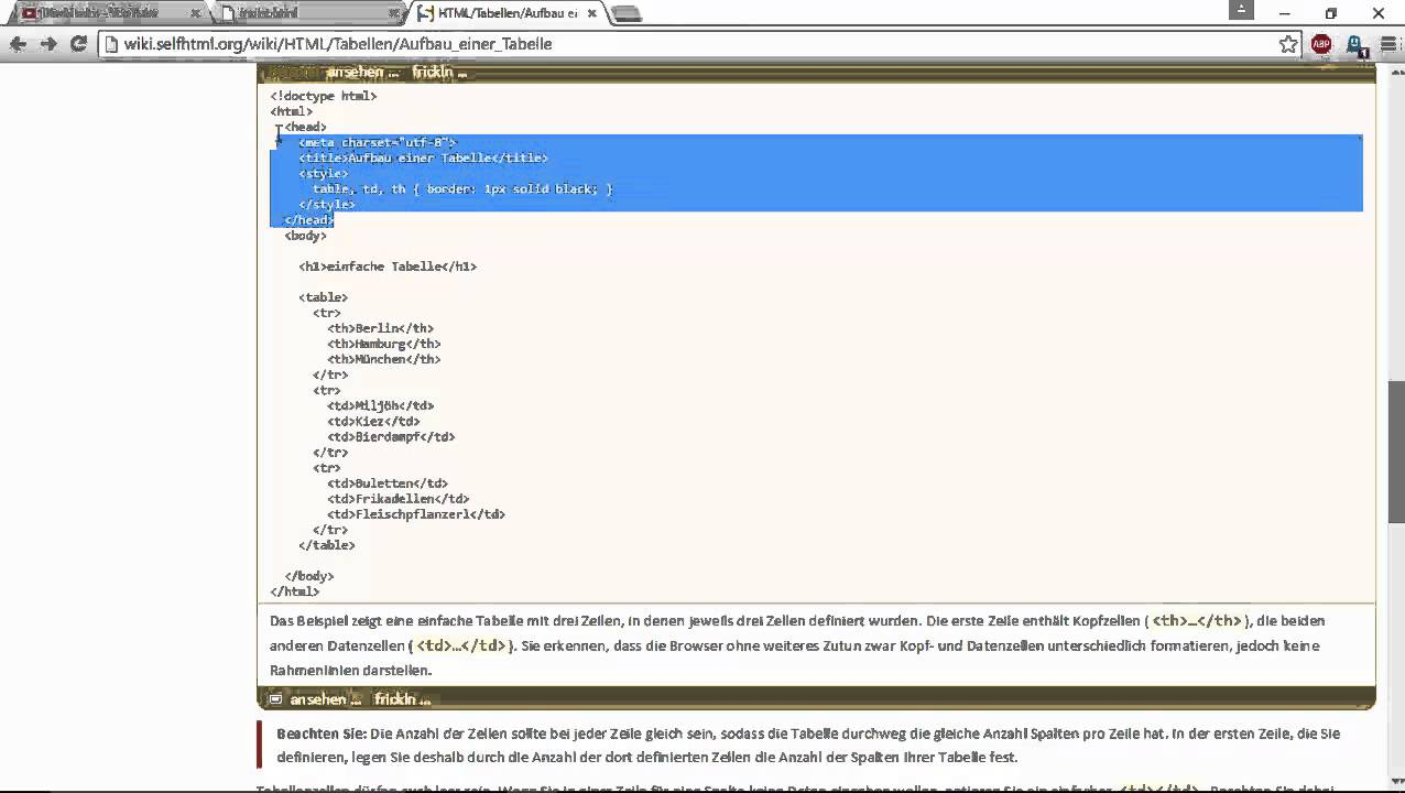 tabellen html