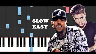 Chris Brown - Don't Check On Me ft Justin Bieber,Ink (SLOW EASY PIANO TUTORIAL)