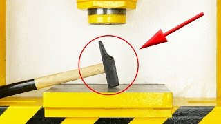 LOOK WHAT HAPPENED WHEN I CRUSHED A HAMMER WITH HYDRAULIC PRESS