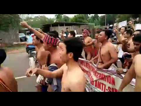 Naked Protest by indigenious of Karbi Anglong to implement new electoral roll as per 6th schedule