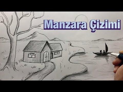 Karakalem Manzara Resmi Çizimi Nasıl Yapılır   Kara kalem Çizim Tekniği Kolay Manzara