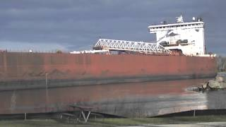 Burns Harbor Great Lakes Freighter Upbound in SSM Michigan 2014