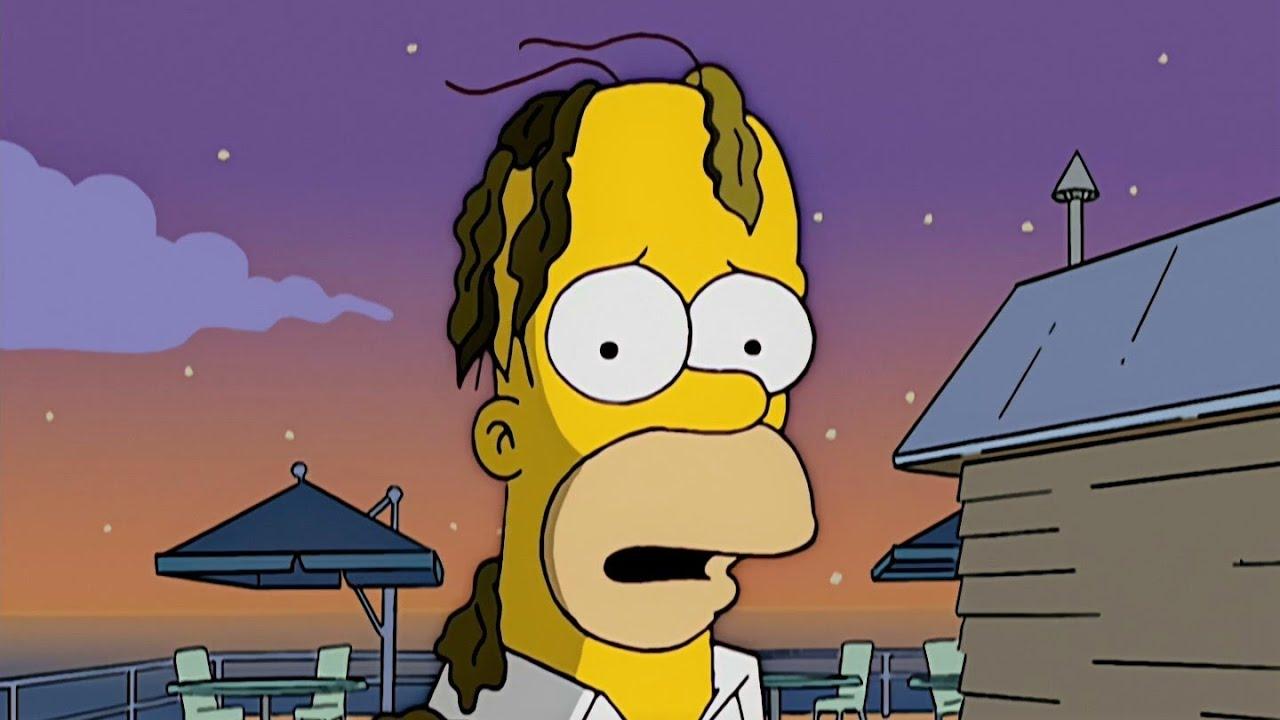 심슨 머리카락 대신에 미역을 올린 호머