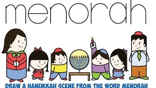 How to Draw Hanukkah Chanukah Kids Lighting Menorah Word Cartoon Easy Step by Step Drawing Tutorial