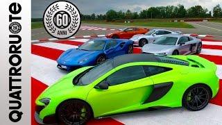 Ferrari 488, McLaren 675 LT, Porsche 911 turbo, Nissan GTR e Audi R...