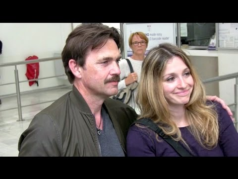 EXCLUSIVE: Dougray Scott and wife Claire Forlani arriving at Cannes airport