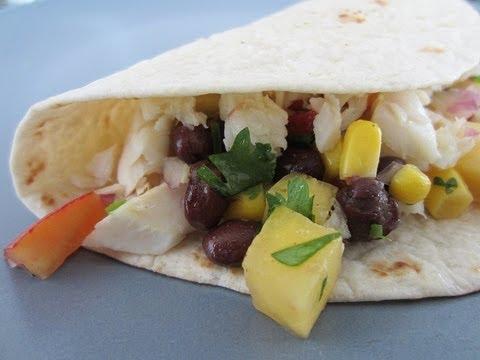 Fish Tacos With Peach, Corn And Black Bean Salsa