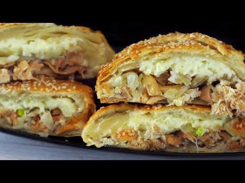 Слоеный пирог с курицей и сыром. Проще простого. Выпечка из слоеного теста