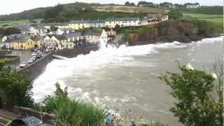 Violent waves crash over The Strand Inn, Dunmore East... and onto the road!