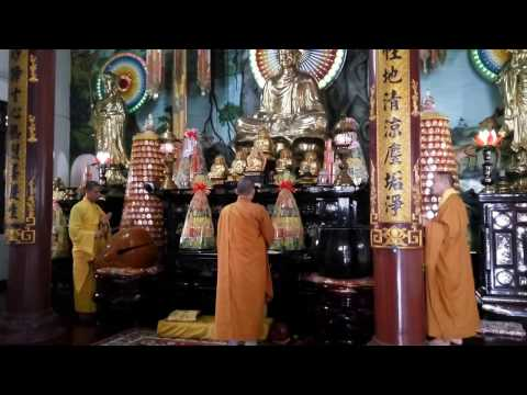 Vietnamese monks chant at afternoon prayers